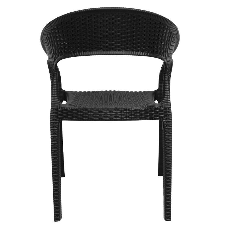 Bolero plastic rattan chair black 4 pieces