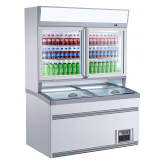 Combisteel Wall freezer white 2 glass doors