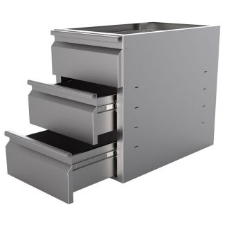Gastro-Inox stainless steel drawer unit with 3 drawers for base 680mm deep