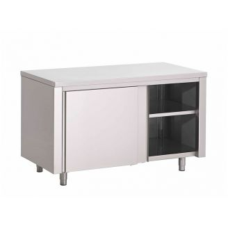 Gastro-Inox stainless steel workbench 1200 (l) x600 (d) x850 (h) mm with sliding doors