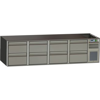 Gastronorm cool workbench - low base model - 8 drawers - 510 mm high