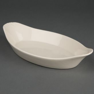 Olympia Ivory oval gratin oven dishes with handles 23 x 13 cm